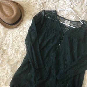 Knox Rose Emerald Green Lace Top